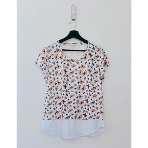Maison Jules | Butterfly Print Mixed Media Top